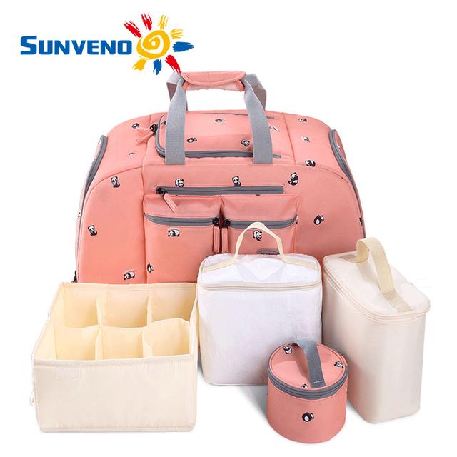 5 unids/set sunveno bebé del bolso del panal de gran capacidad a prueba de agua bolsa de pañales de moda hombro de la madre de maternidad mochila bolsa de viaje bebé