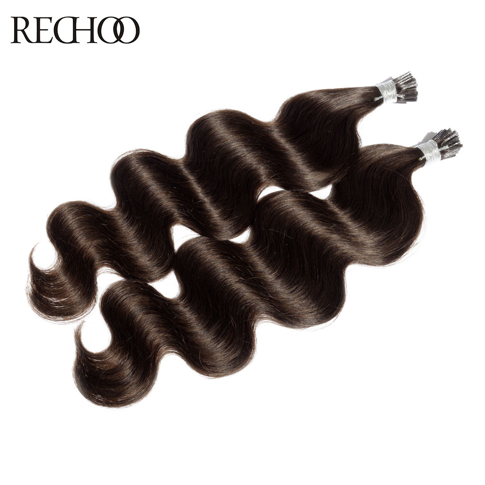 Rechoo 1g/s 100g Human Non-Remy Hair Dark Brown Platinum Blonde Custom Capsule Keratin Stick I-tip Human Hair Extensions