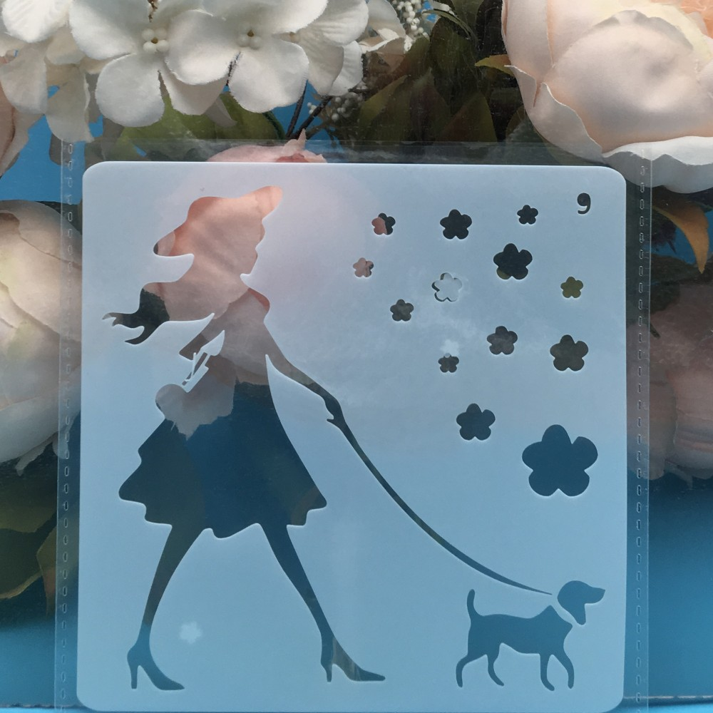 13cm Girl And Dog DIY Layering Stencils Wall Painting Scrapbook Coloring Embossing Album Decorative Card Template