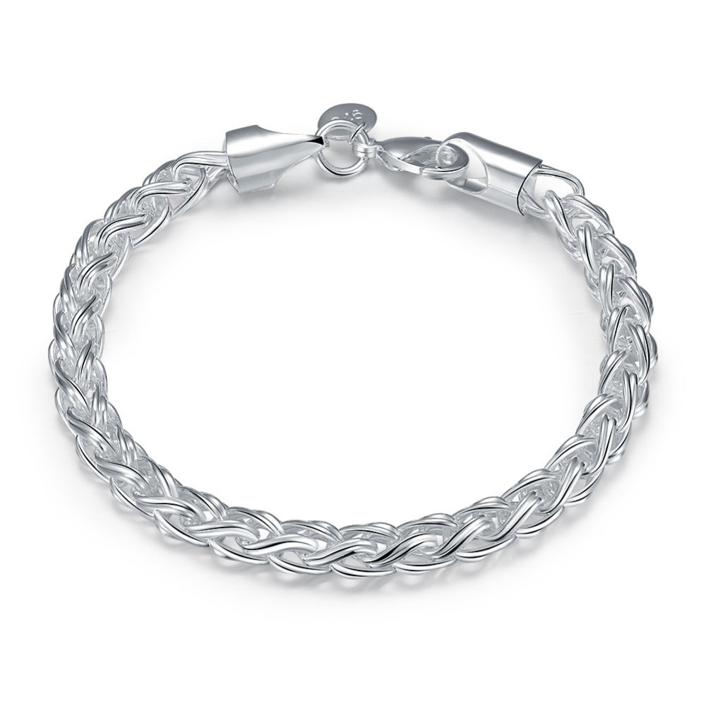Silver Chain Link Bracelet: Lobster Style Buckle Bracelet Type Round Silver Chain