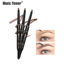 Music Flower 2 In 1 Automatic Eyebrow Pencil +Eyebrow Powder Set Natural Creamy Pen 24H Long-lasting Water-proof Makeup