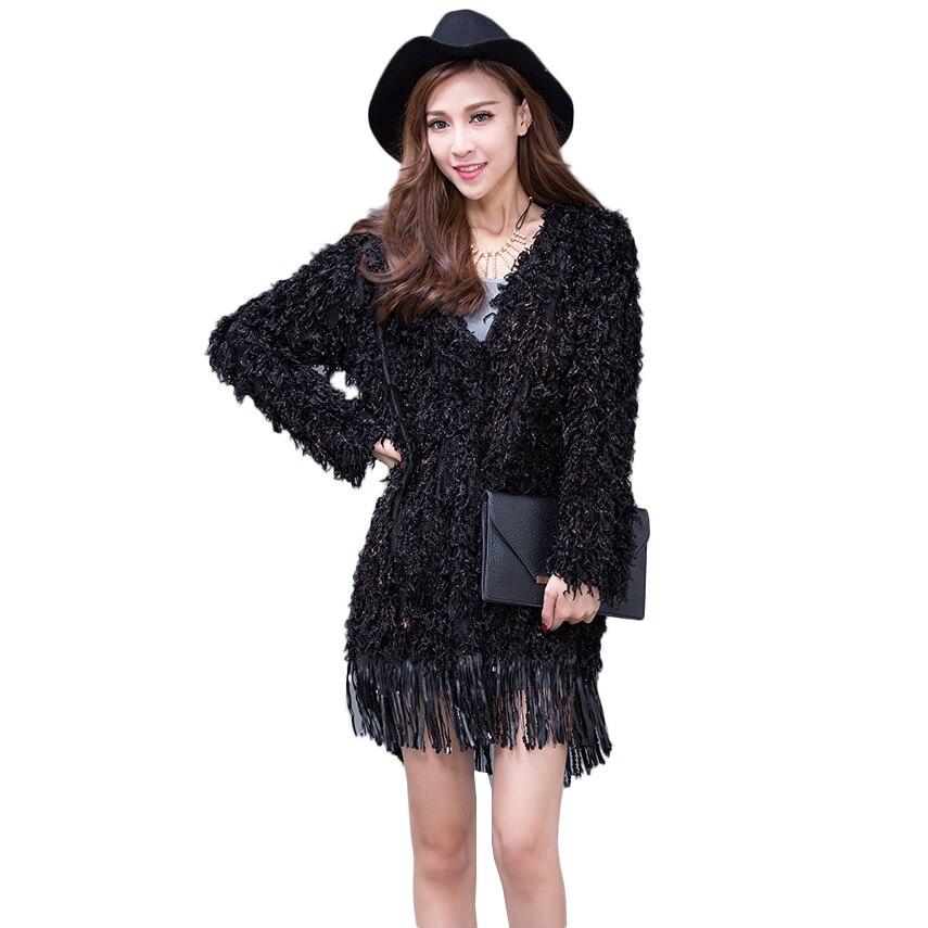 Nouveau Cardigan Manches Femmes À Gland Noir Couture Fourrure Veste Tricot Outwear 2019 De Nw1264 En Mode Longues Automne Printemps RqYwddS