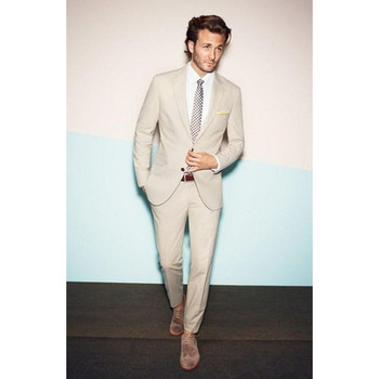 New Style Custom Made Beige Wedding Tuxedos Cheap Real Image Three Piece Formal Groom Men Suits ( Jacket+Pants) FR56