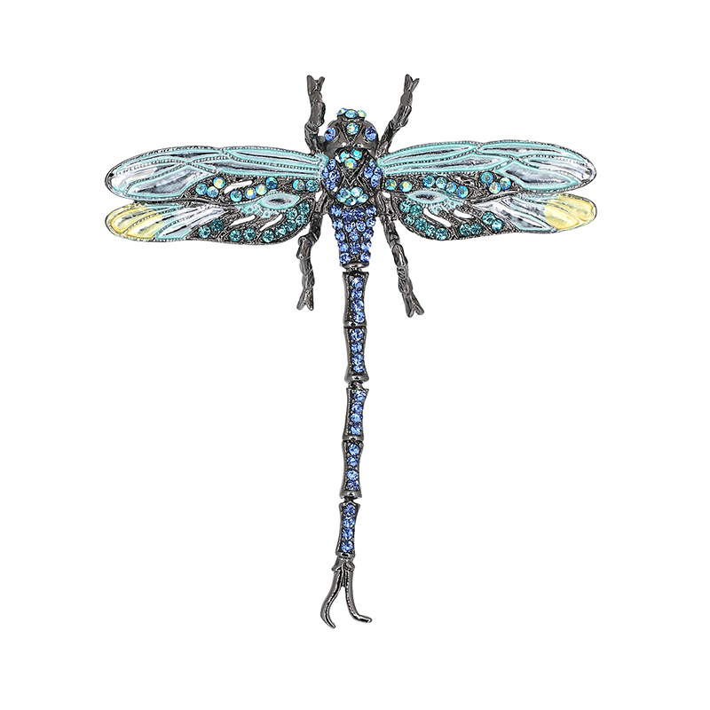 High Quality Crystal Dragonfly prossid naistele Girl Green Jewelry Scarf Lapel Pins Brooch Antiik tarvikud O2202-1