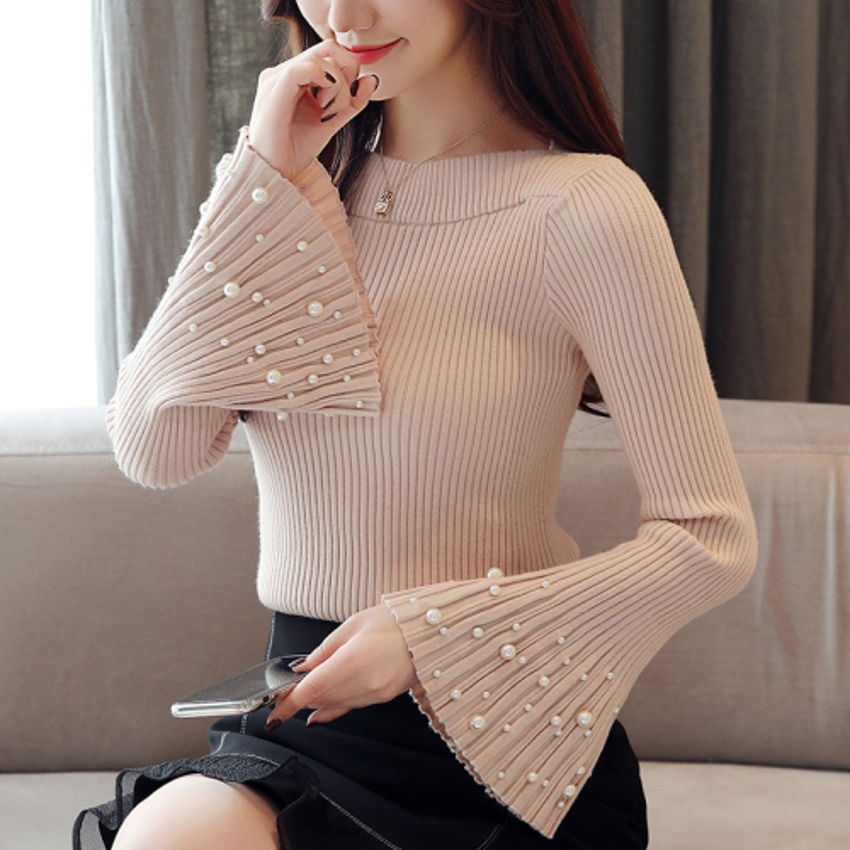 New 2019 Solid Sweater Women Flare Sleeve Pearl Studded Beading Slim Pullover Knitting Autumn Winter Korean JumperWomen C8N101
