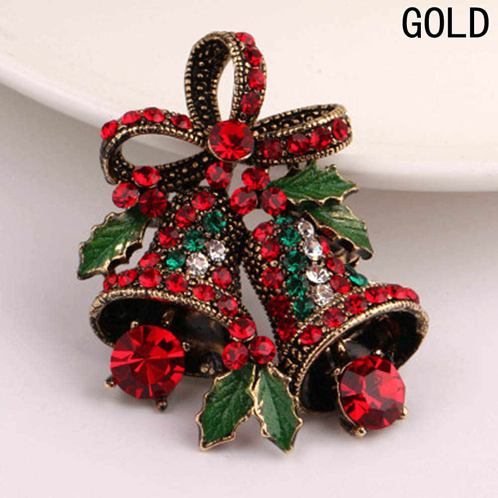 Creative Gift Bowknot Fashion Christmas Gifts Pins And Brooches For Women Small Bell Heart Rhinestone Brooch