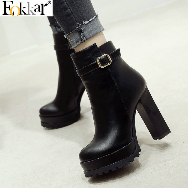 aa219137bf Eokkar 2020 New Fashion Women Ankle Boots Warm Inside Platform Square High  Heel Round Toe Zipper Ladies Big Size 34 43