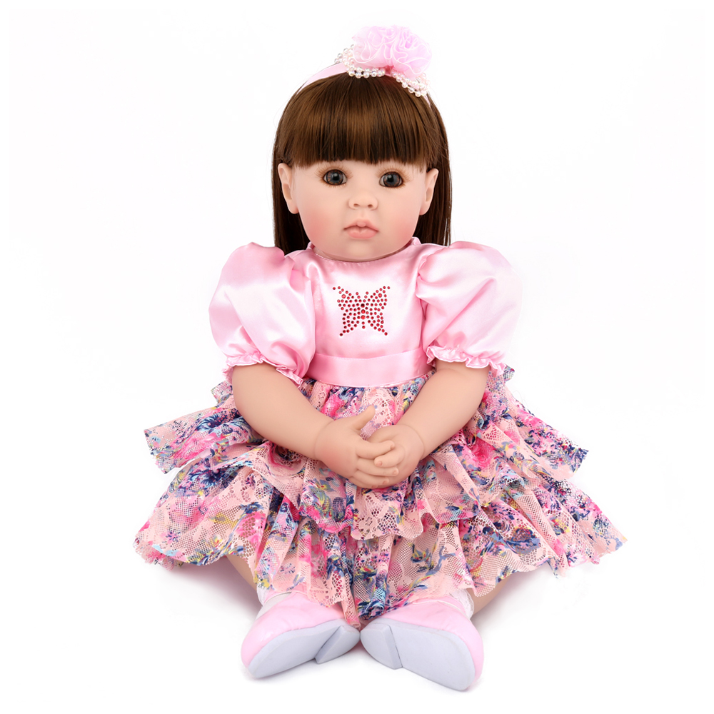 Haut de gamme 50 cm nouveau-né silicone reborn bébé poupées vinyle simulé poupée bambin réaliste longhair princesse bébés poupées jouer maison