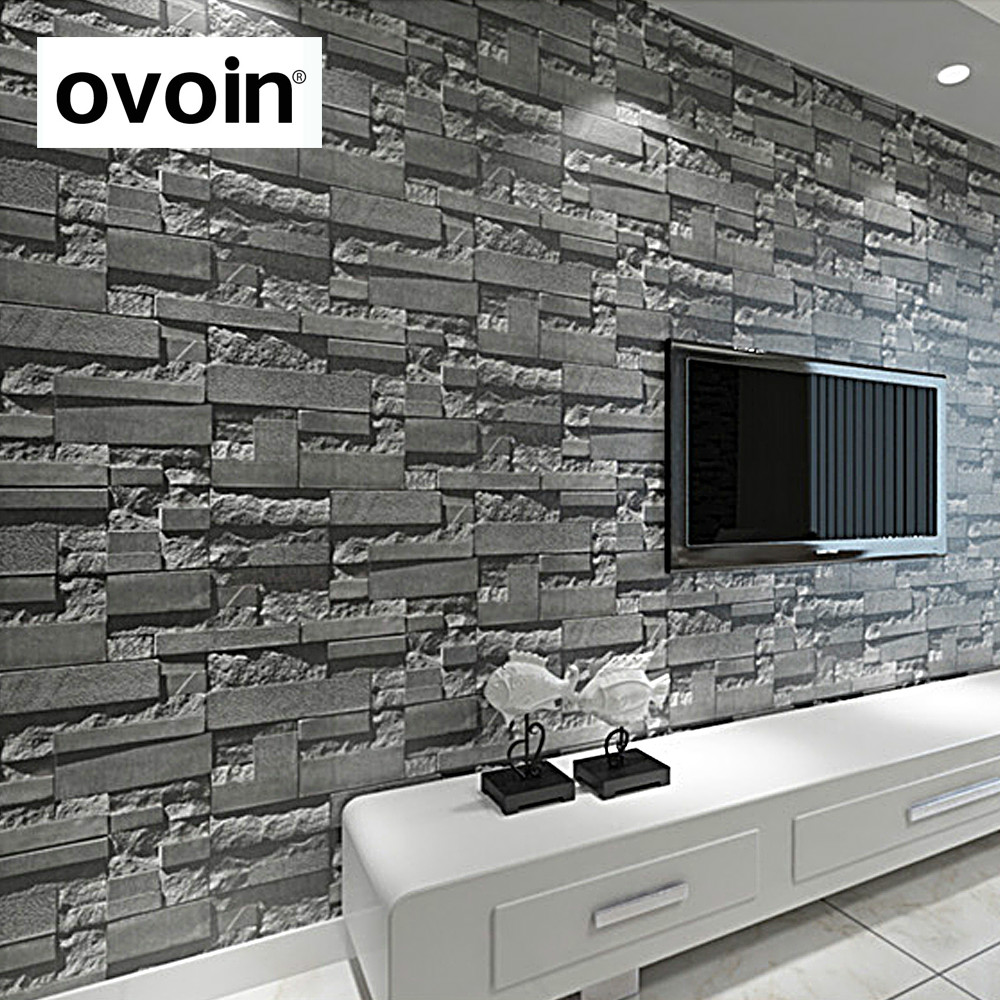 3D Slate Stone Brick Effect Washable Vinyl PVC Wall Paper Living Room Background Wallcovering Wallpaper Black,Grey