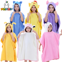 MICHLEY Children Bathrobe 2019 Newborn Boy Hooded Cartoon Pajamas Girl Cute Animal Ear Bath Robe Baby Colorful Cotton Towels WED