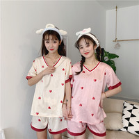 Summer Women Sleepwear Pyjama Sets Lovely Heart Printed Comfortable Short Sleeve Sleep Tops Shorts Nightwear for Twin girls