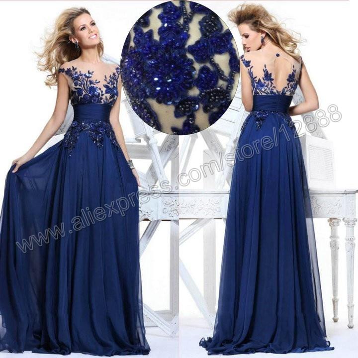 53d302fdb3 Most Beautiful Evening Gowns Royal Blue Chiffon Evening Dress 2014 ...