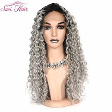 Suri Hair lace front wigs for Black women Long kinky curly Synthetic wigs Guleless 130% density Ombre Gray Red Cosplay hair wigs