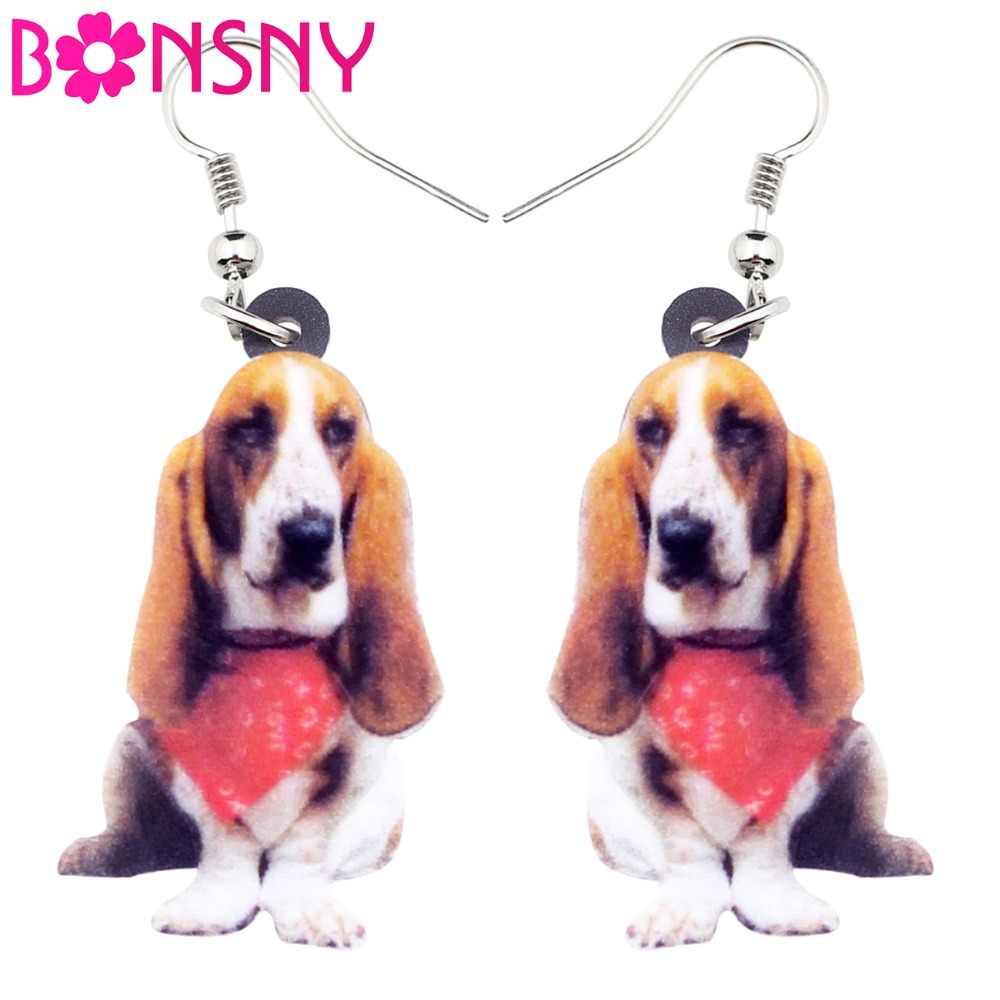 Bonsny アクリルリビングルームのスカーフバセットハウンド犬イヤリングビッグロングブラブライヤリングドロップファッションジュエリー女性ガールズレディース子供動物