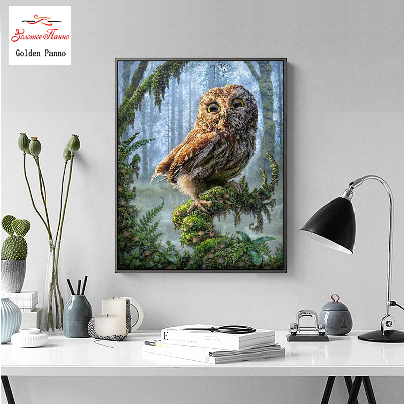 Golden Panno Cross stitch embroidery set owl animal tree 14CT cotton line drawing DIY needlework DMC home decoration in Package from Home Garden