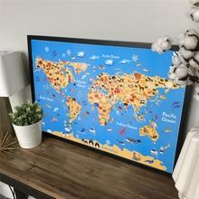 Mapa del mundo del océano Animal pintura Retro Vintage póster papel pared imagen Decoración Para sala de estar Casa Niño chico póster mapas del mundo 70x43cm