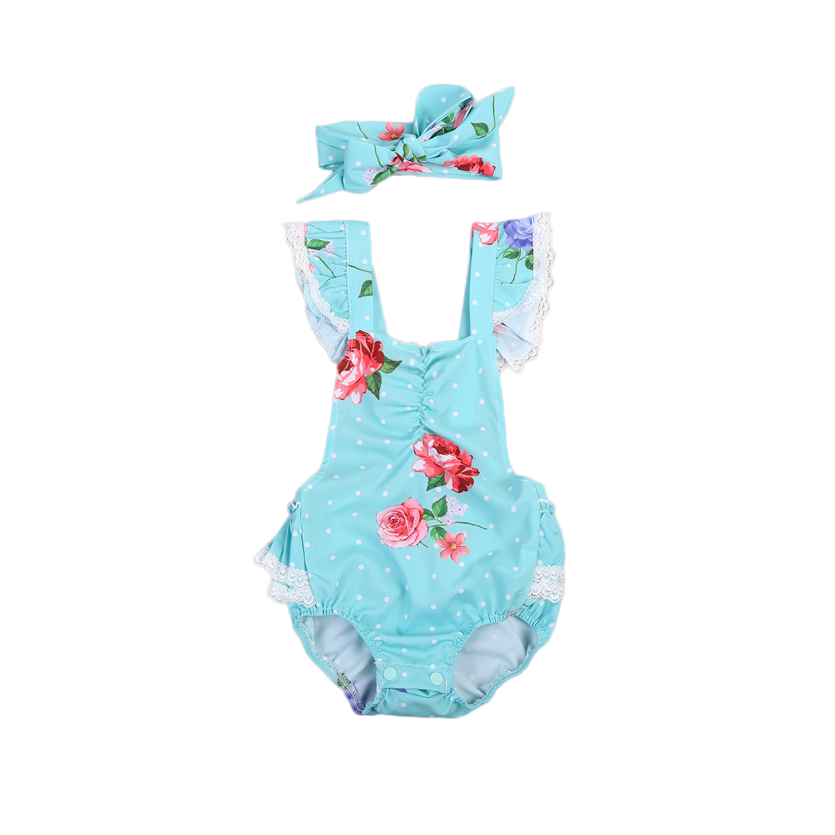 Newborn Toddler Baby Girl Clothes Lace Floral Jumpsuit One-Piece Romper Backless Sunsuit+Bow hairdband Outfits set puseky 2017 infant romper baby boys girls jumpsuit newborn bebe clothing hooded toddler baby clothes cute panda romper costumes