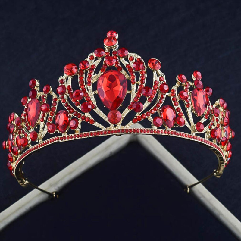 Stunning Prom Quinceanera Crowns and Tiaras In Red Rhinestone Crystal Women Hair Jewelry Beading Headpieces Headbands Casamento