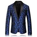 2016 nueva llegada de algodón de alta calidad impreso azul traje casual de Negocios traje chaquetas de los hombres de más tamaño S, M, L, XL, XXL, XXXL, XXXXL