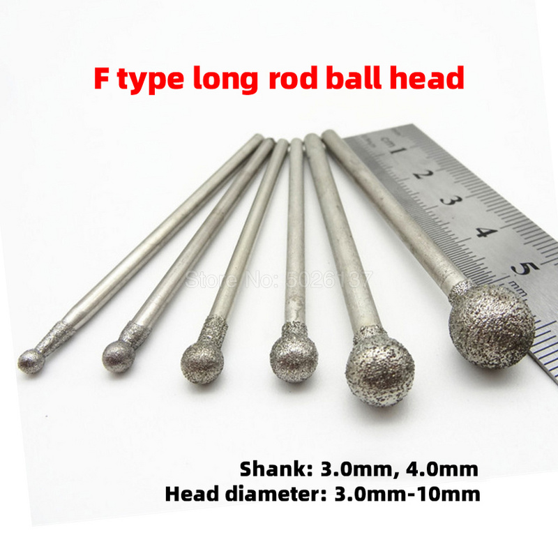 1Pcs Carbide File Grind Needle Cutter Jade Carve Precision Engrave Spherical Round Ball Diamond Burrs Bits Burr Rotary Tool