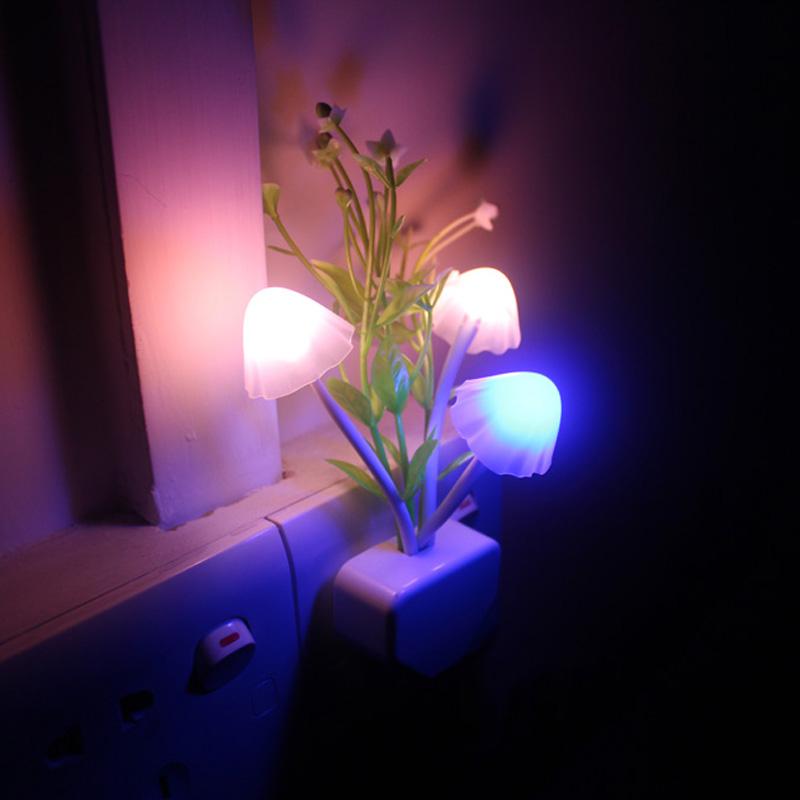 LED night light bedside light-controlled induction wall lamp Avatar energy-saving colorful mushroom novelty night light