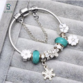 2017 heath new fashion bluebeads snow flower  bracelets & bangle fit european woman & man gift free shipping diy