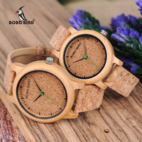 BOBO BIRD Watches Bamboo Couple Clocks Analog Display Bamboo Material Handcrafted Timepieces Wooden Watch Men Made
