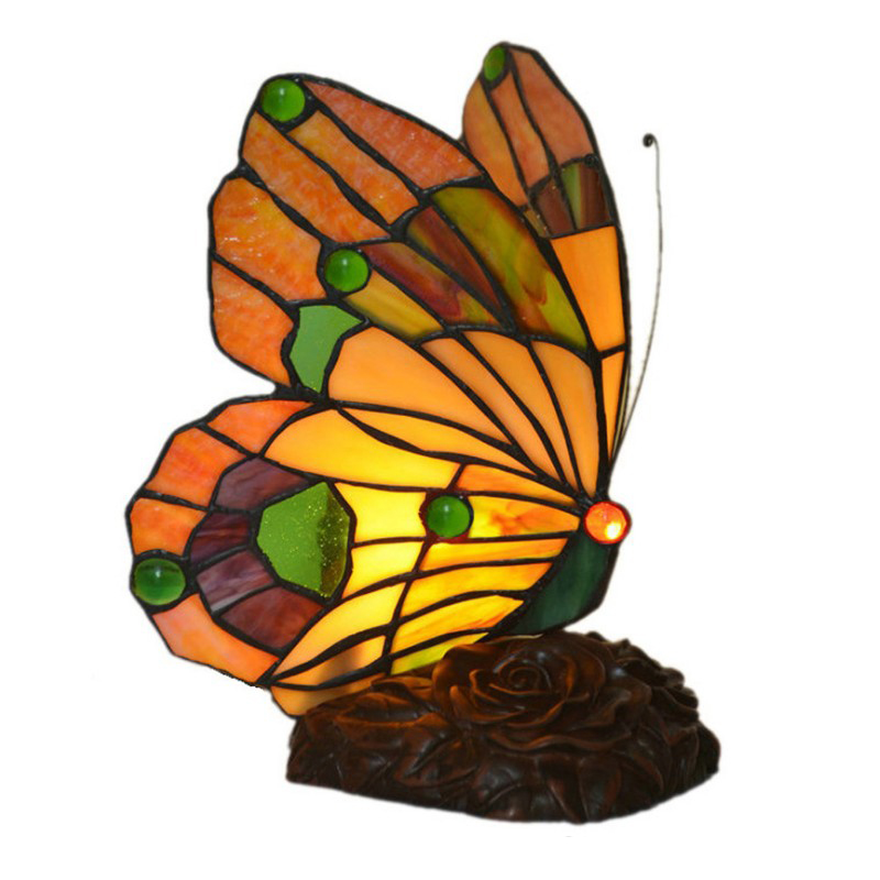 Turkish Resin Sculpture butterfly Home Deco Creative Stained Glass Bedside LED Desk Table Lamp Light Living Bed Room Lighting