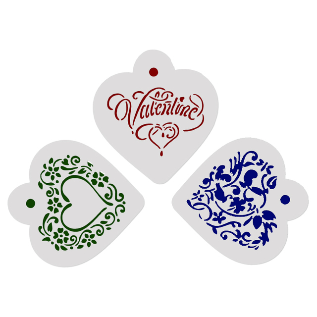 facemile 3pcs valentine s day heart flower cookie stencil for