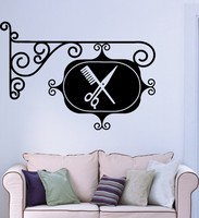 Hair Salon Stylist Hairdresser Wall Sticker Sign Barbershop Removeable Wall decal Glass sticker Hot selling