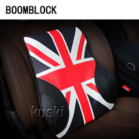BOOMBLOCK 1pcs Car Back Seat Cushion Flag Pattern For Peugeot 307 206 Jeep Ford Focus 2 3 VW Polo Golf 4 5 7 Touran Accessories