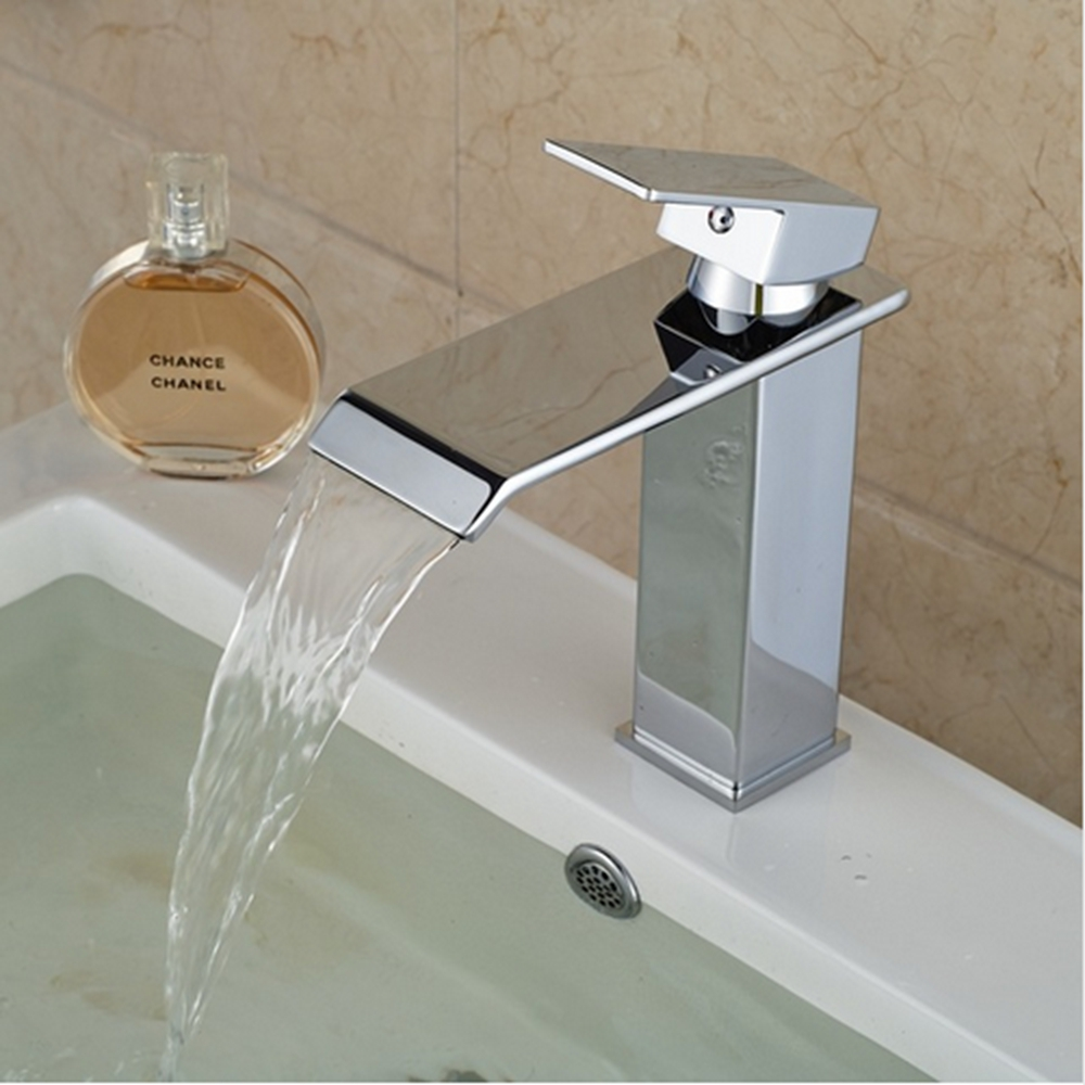 Uythner Free Shipping Chrome Brass Bathroom Basin Faucet Waterfall Square Shape Vanity Sink Mixer Tap free shipping gold clour solid brass bathroom sink faucet new bathroom mixer tap square design
