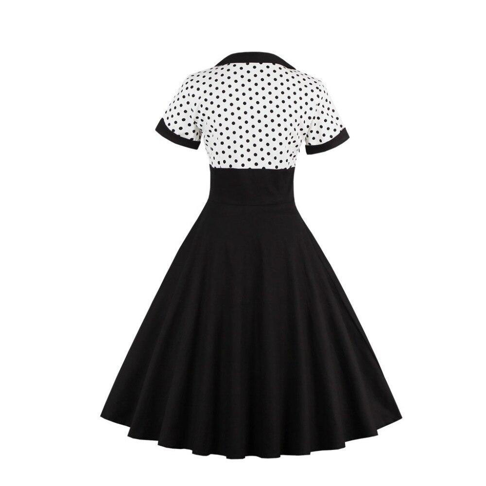 2018 mujeres del verano vestido retro 1950 s 60 s vestido lunares - Ropa de mujer - foto 3