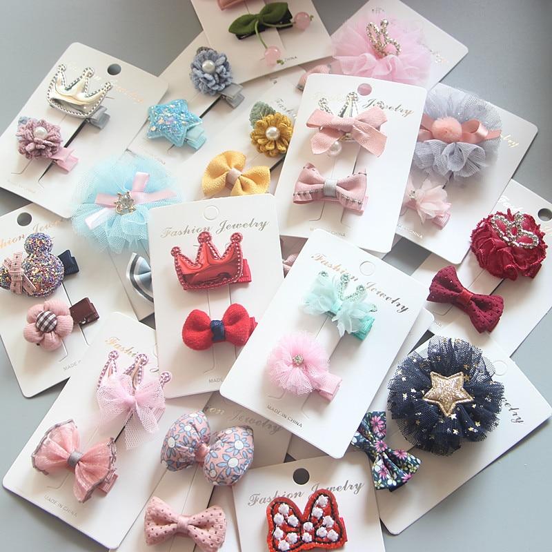 1 Set Hairpin Baby Girl Hair Clip Bow Flower Mini Barrettes Star Kids Infant US