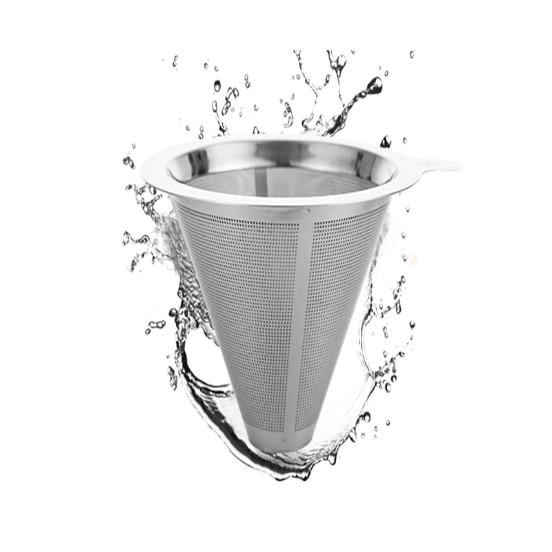 Stainless Steel Coffee Dripper Double Layer Mesh Filter Pour Over Cone Paperless Home Brewing Helper Coffee Shop Kitchen Tools