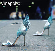 Gorgeous Butterfly Women Stiletto High Heels angel wing Summer Crystal Sandals Shoes Woman Open Toe Ankle Strap Thin Heel Pumps chic silvery pu t strap buckle style heels glittering crystal decorated pointy stiletto heel pumps gorgeous wedding glass shoes