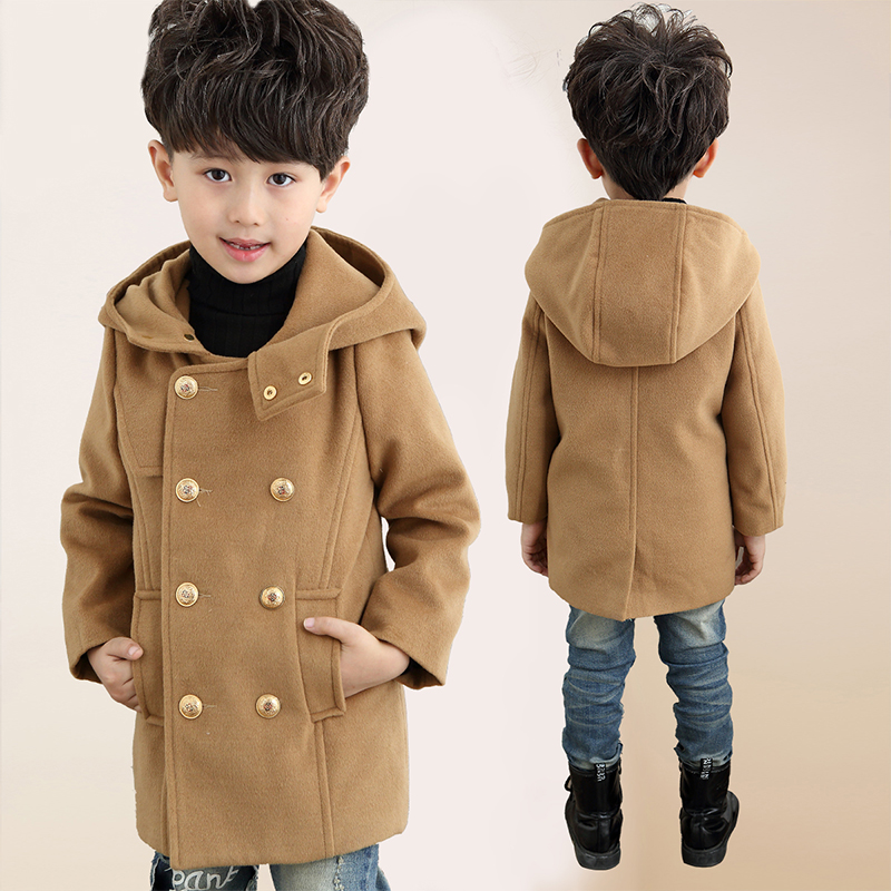 Beautiful 2016 Boys Winter Trench Coat Children Long Hooded Double Breasted  UG35