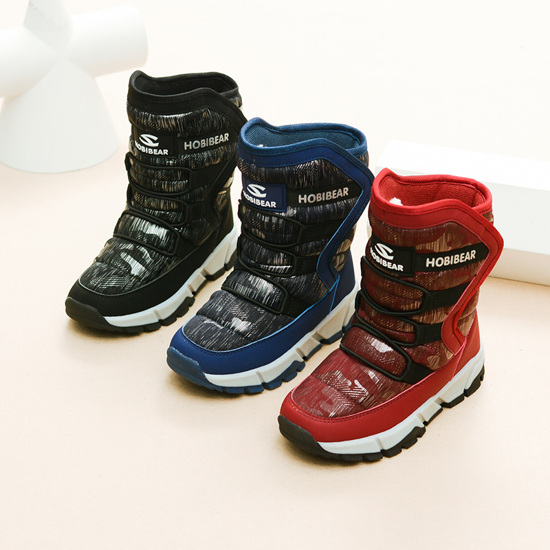 JACKSHIBO Kids Winter Snow Boots Anti skid Winter Boots for Child Warming Hi Upper Water proof Boy Girl Boots Plush Inside Light in Boots from Mother Kids