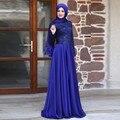 Vestido de noite elegante plus size manga comprida a line chiffon royal moslim avondjurk com vestidos de renda formal de longo