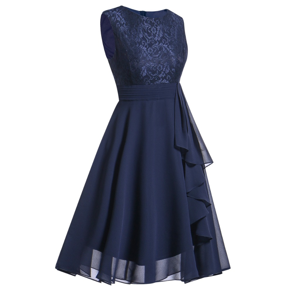 OML522L#Chiffon and Lace navy blue Short Bridesmaid Dresses Weddiong Party Dress 2018 Prom Gown Women Fashion Wholesale Clothing 9