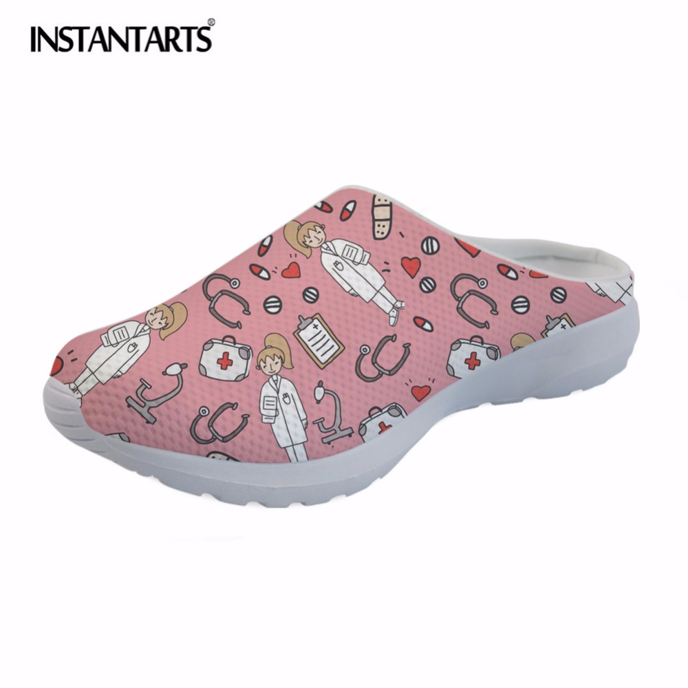 INSTANTARTS 2018 Summer Mesh Sandals Women's Sketch Medical Print Beach Water Shoes Lightweight Slip-on Slippers for Female Girl instantarts cute cartoon nurse print air mesh sandals women summer casual breathable slip on shoes beach slippers zapatos mujer
