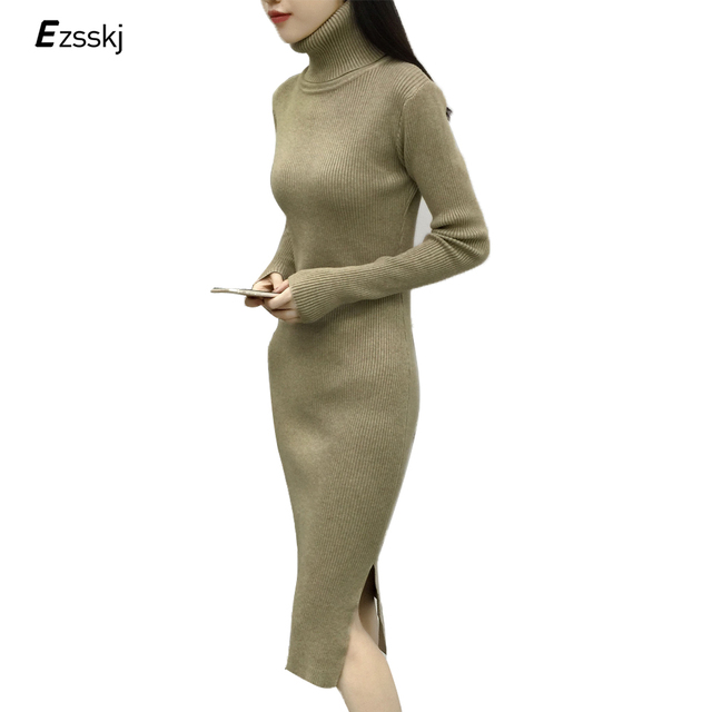 Sexy Split Thick Knitted Winter Dress Women Office Black Red Heavyweight Turtleneck  Midi Bodycon Sweater Dress Sheath Robe Femme 7865542e3