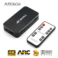 AIXXCO UHD HDMI Switch 2.0 4K HDR 4x1 Adapter Switcher with Audio Extractor 3.5 jack optical fiber cable ARC splitter for HDTV