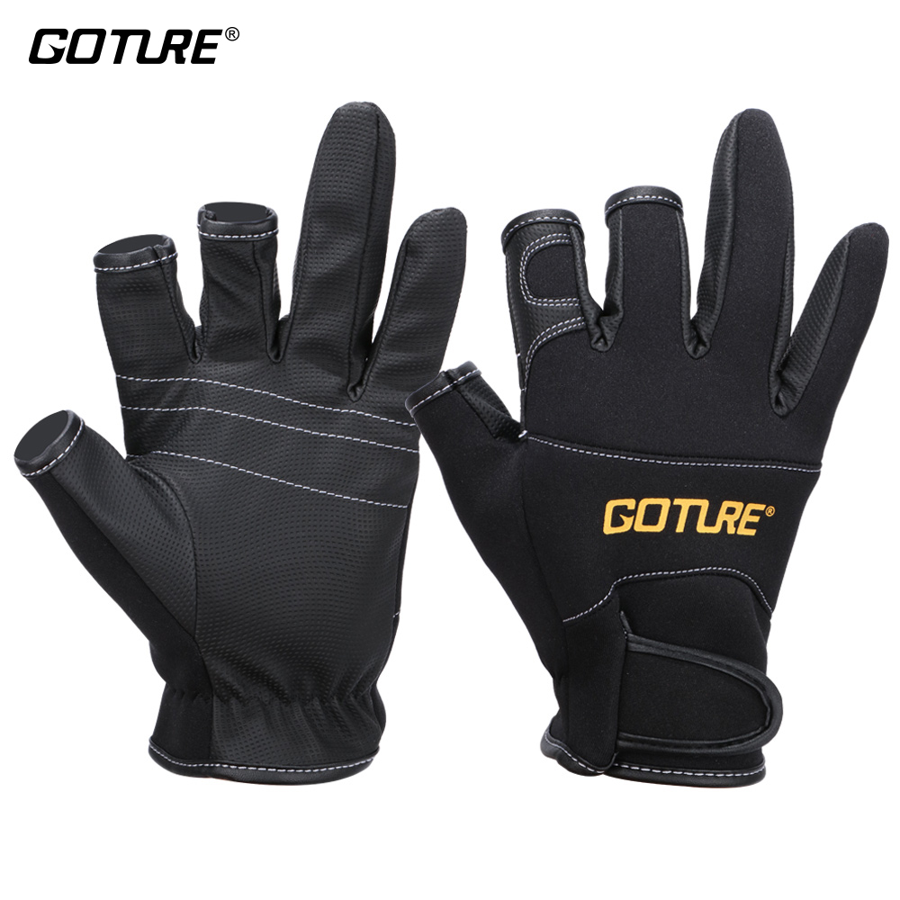 Goture Fishing Hansker Anti-slip 3 Half Finger Pustende Hanske Terylene Svamp PU For Fiske Tilbehør Outdoor Sports Tools
