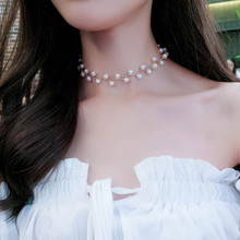 1PC Pearl clavicle chain Black and white pearl collar Personality fashion simple female jewelry