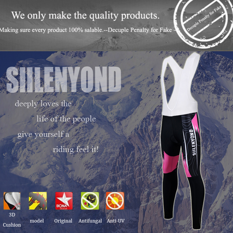 Siilenyond 2019 New Women Winter Pro Keep Warm Cycling Bib Pants Thermal Cycling Trousers With 3D Coolmax Gel Pad 1