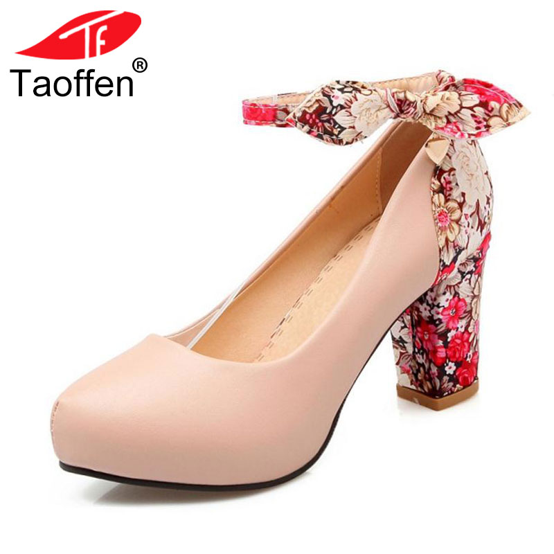TAOFFEN 5 Color Size 34-43 Sexy Lady Bownot High Heel Shoes Women Inside Platform Ankle Strap Flower Pumps Party Women Footwear taoffen women high heels shoes women thin heeled pumps round toe shoes women platform weeding party sexy footwear size 34 39