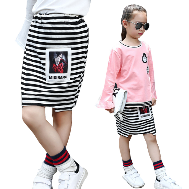 Kids Stripe Skirts For Girls Clothes Elastic Waist Tutu Skirt Spring Summer Package Hip Skirts Children Clothing 2 4 6 8 10 12Y