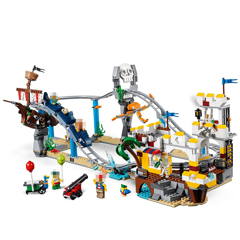 New Creators Builerds Set Pirate Roller Coaster 3 in 1 Compatible Legoing Creator Building Educational Toys Christmas Boy Gifts