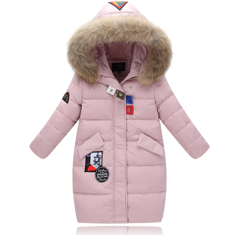 XYF8832 Boys Girls Winter Down Jackets Kids Big Fur Collar Pink Winter Jacket Coat Warm Outerwear Long Coat 85% White Duck Down winter girl jacket children parka winter coat duck long thick big fur hooded kids winter jacket girls outerwear for cold 30 c